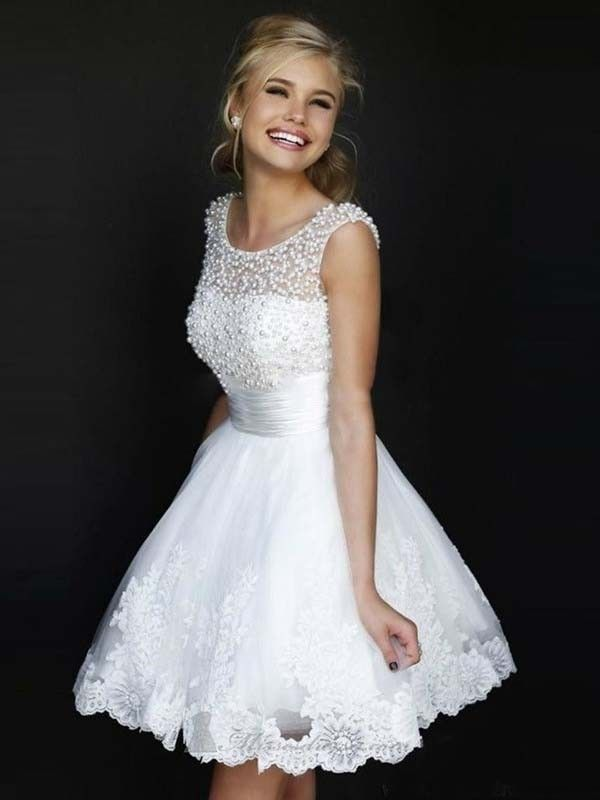 A-line/Princess Jewel Sleeveless Pearls Short/Mini Tulle Dresses