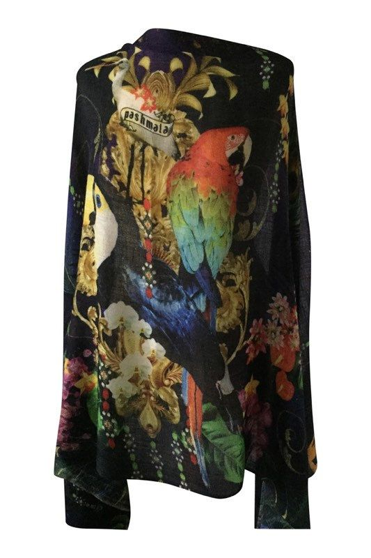 Amazon Birds Starry Night Sky Printed Cashmere Wrap by PashMala