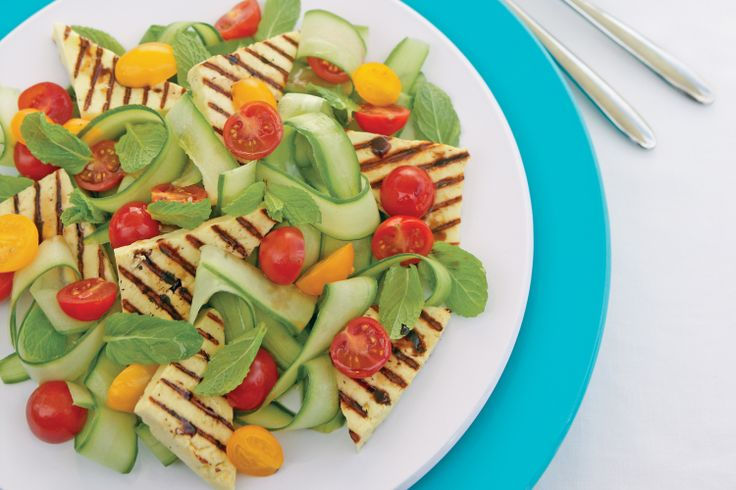 Haloumi, Tomato, Cucumber & Mint Salad