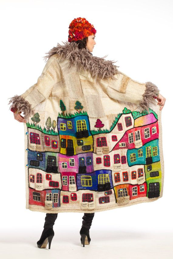 This thing was shown at the Fashion Week in Moscow on 3 November 2013 in the collection the Paradigm, season spring-summer 2014. It is made of Noros yarn. Super - quality. Handwork. Source of inspiration of a collection Freidensreich Hundertwasser. His houses and picture. At you is возможност to buy a thing which wasnt seen yet by the world