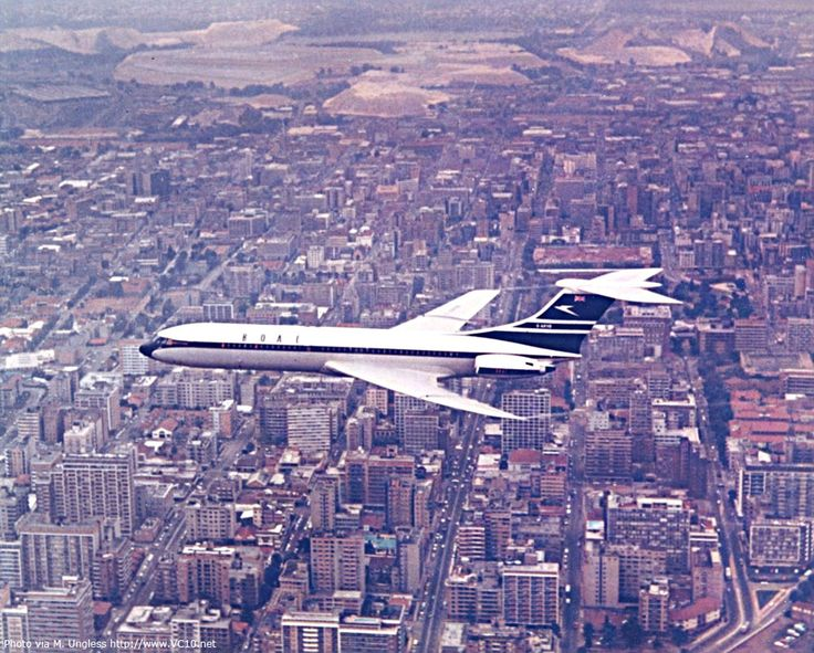 BOAC Standard VC10 (Series 1100) G-ARVB (c/n: 805) over Johannesburg (South Africa) at low level, conducting Tropical Trials in October 1963. Captain Bill Cairns in command.