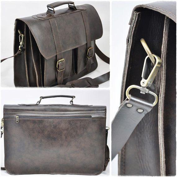 Dark Brown Leather Messenger Bag 15 inch Laptop by Leatherhood