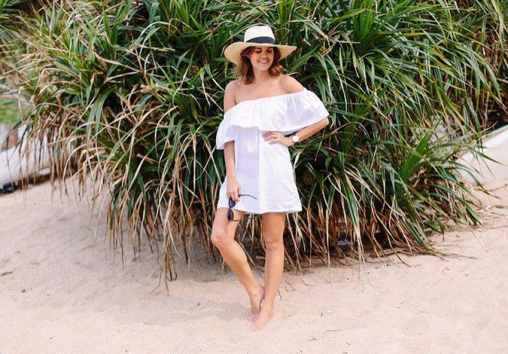 FREIES MUSTER – DIY weg vom Schulter-Strand-Kleid – durch ein Paar und ei …