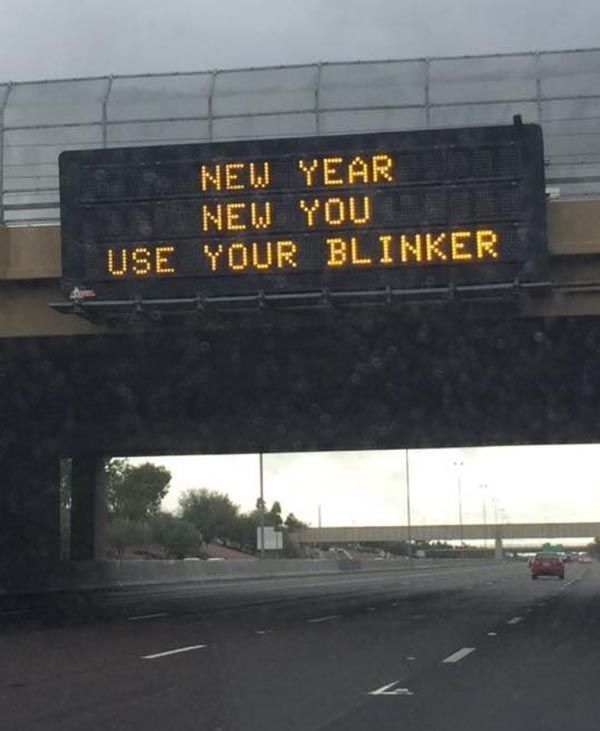 Road sign in Arizona encouraging you to take it up a notch in 2017