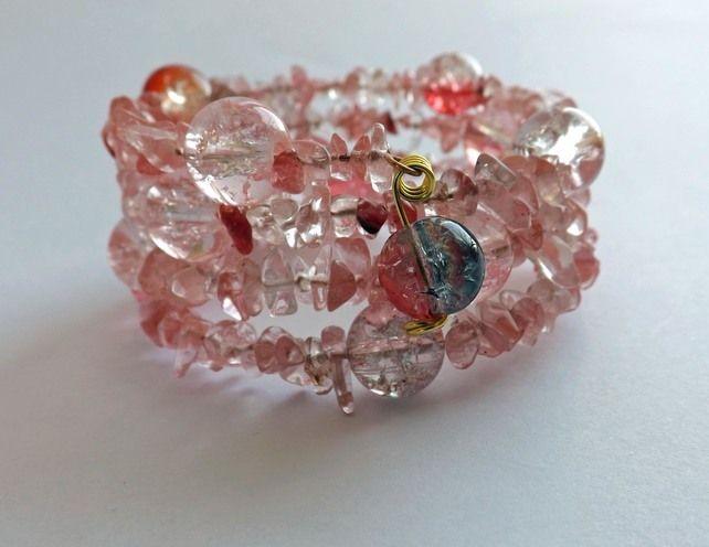 Cherry Quartz Memory Wire Bracelet £7.00