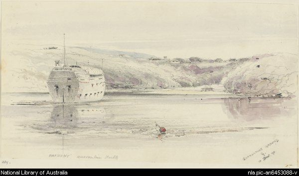 Harmony, quarantine hulk moored off the Quarantine Station in Spring Cove 1870  by George Penkivil Slade. Harmony was first brought in to help accommodate the 1,000+ passengers on the Beejapore. in 1853