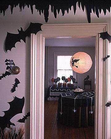 halloween decorating ideas craft foam cut into bats cats and things that go bump - Decorating For Halloween On A Budget