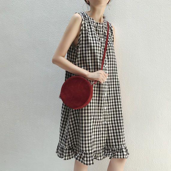 세련된 복고 스타일 여름 달콤한 작은 신선한 느슨한 얇은 격자 무늬 긴 민소매 조끼 드레스