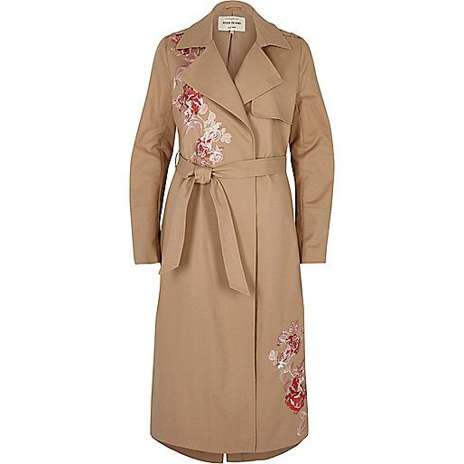 Brown floral embroidered trench coat - coats / jackets - sale - women