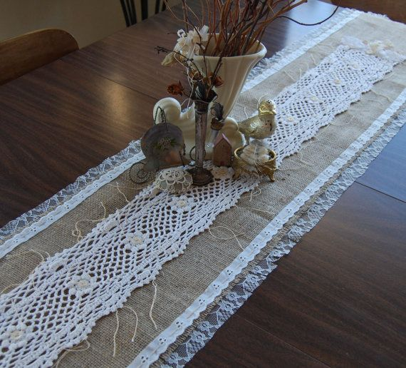Love is the Thread  Vintage Lace and Burlap Table by FunkyJunkyArt
