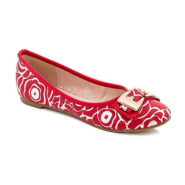 Lady Godiva Red Abstract Floral Ballet Flat ($13) ❤ liked on Polyvore featuring shoes, flats, flat shoes, ballet pumps, floral flat shoes, floral print flats and ballet shoes