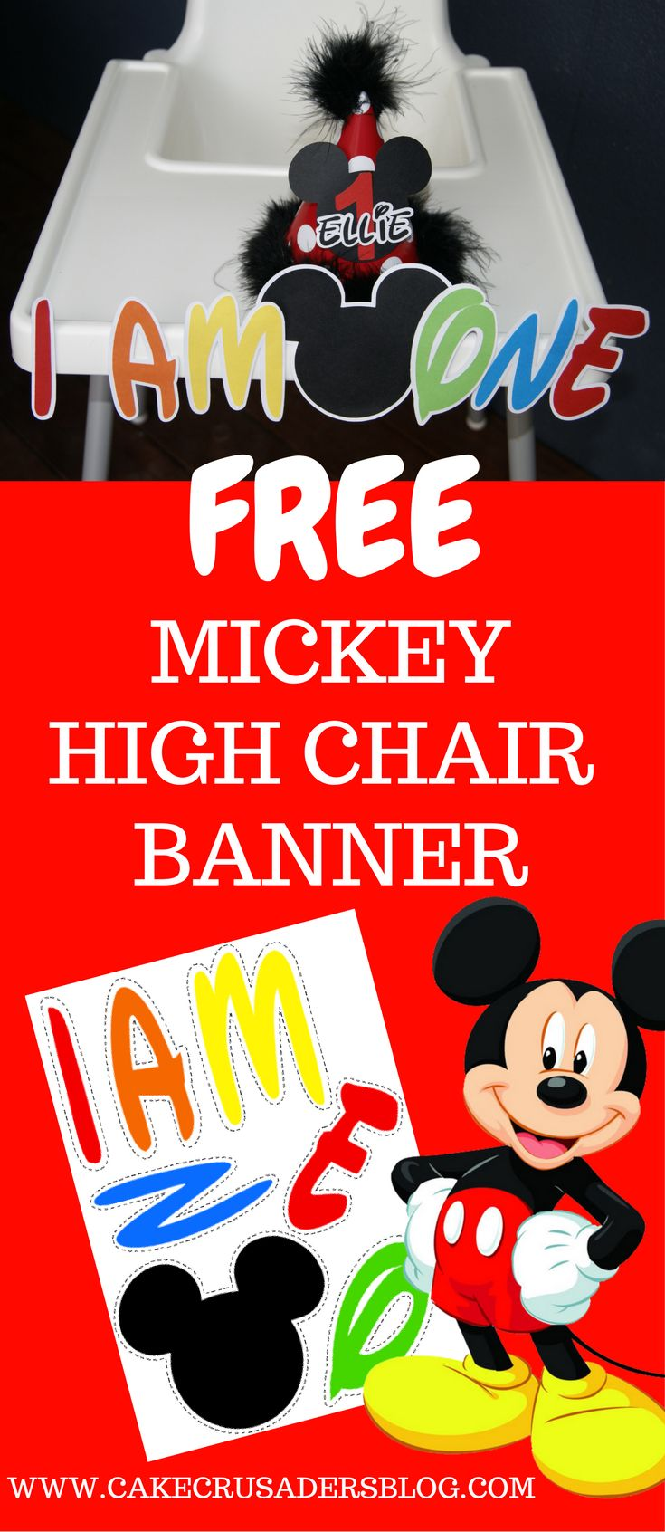 Free Mickey Mouse Clubhouse I AM ONE high chair banner! Great for your little ones first birthday party