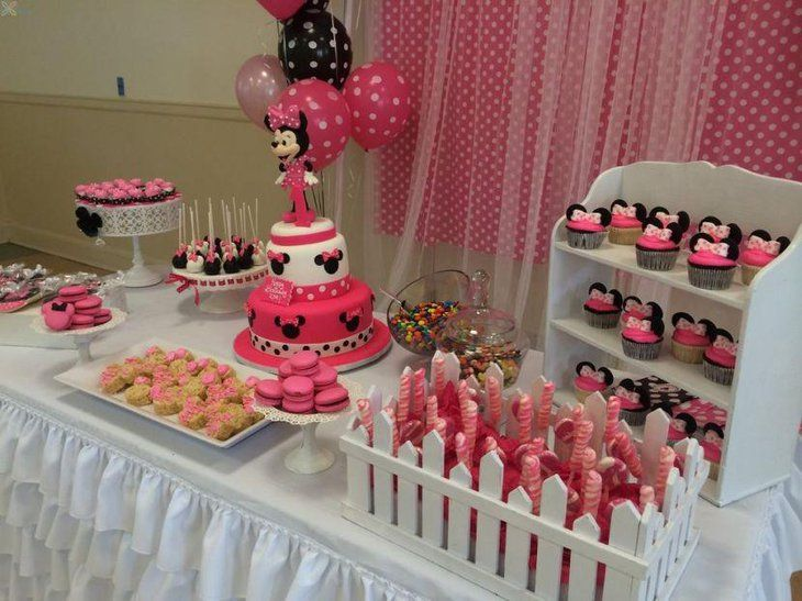 Lovely Minnie Mouse Candy Table Decor Cake Table Decorations Candy Birthday Cakes Minnie Mouse Cake