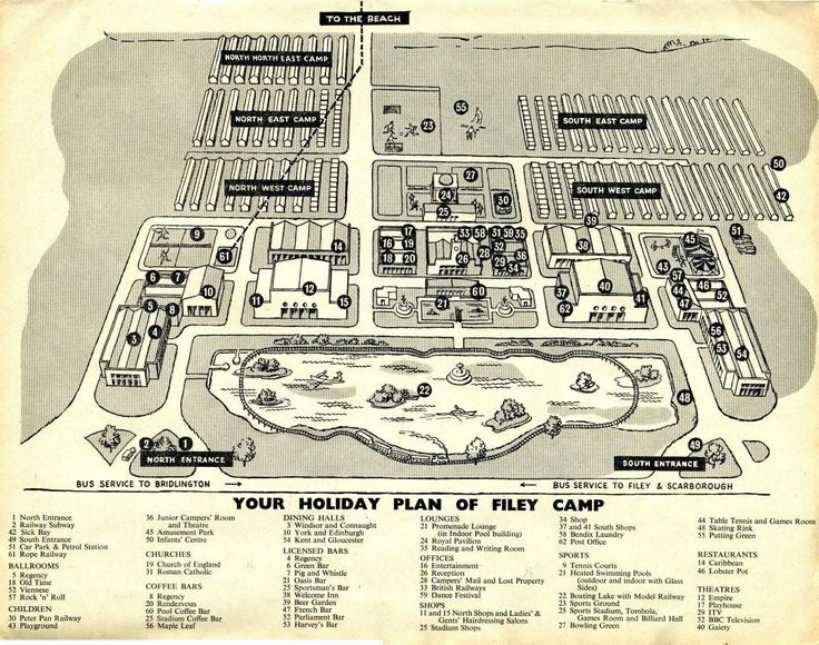 Filey Map from 1962 Butlins, Butlins holidays, Holiday