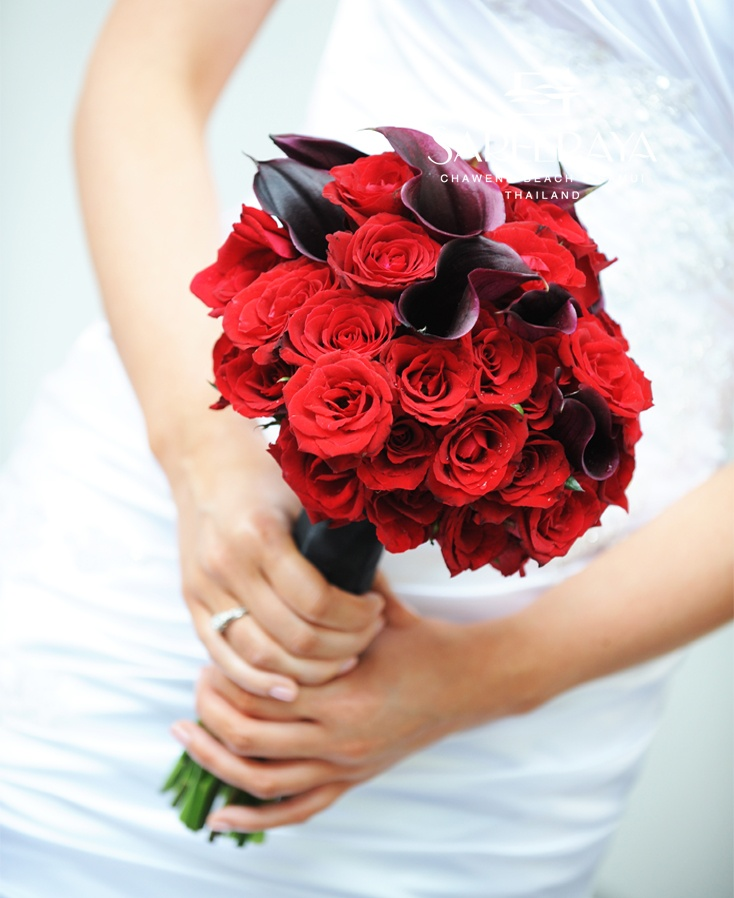 Red Rose & Black Calla Lily Bridal Bouquet