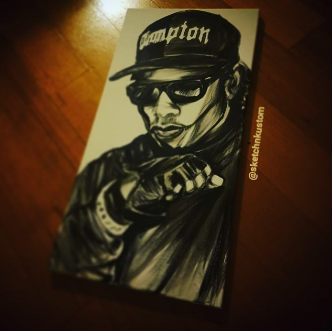 #eazye #nwa #compton #streetart #acrylic #paint #canvas #bnw #art #ink #graffiti #throwback #flashback #tbt #90s #gangsta #eazy #glove #snapback #icon #ripeazye #eternal #godfather #btnh #ruthless #hiphop #artlifestyle #arting #dailypainting #sketchnkustom