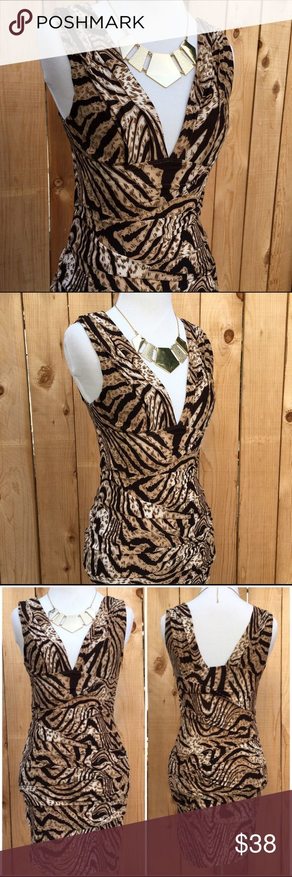 """🆕 Animal Print Body Con Dress❄️ Sexy low v-neck animal print is a mix of browns & tan with a 9"""" side zipper. Measurements are 13.5"""" pit to pit & from shoulder seam to bottom of dress is 31.5"""" long. Waist is 12.25"""" but has stretch to it. Content is 95% Polyester & 5% Spandex. In excellent new condition. NWT  Also visit @infinitelyposh for S, M & L sizes. The Hanger Dresses Mini"""