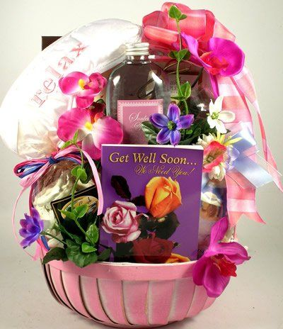 Pretty in Pink Spa and Gourmet   Get Well Spa Gift Basket for Women with Gourmet Snacks $69.95