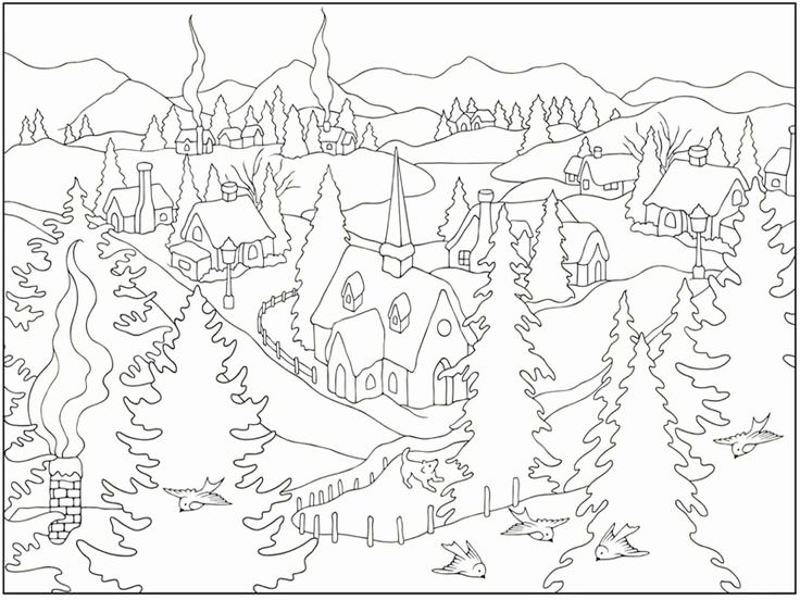 Winter Scenes Coloring Pages in 2020 | Coloring pages ...