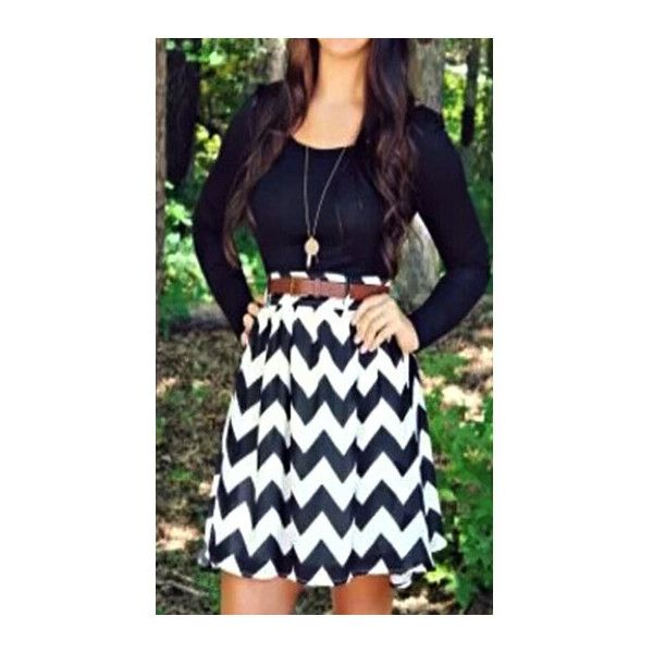 Chevron Print Long Sleeve Black Skater Dress ($20) ❤ liked on Polyvore featuring dresses, black, long sleeve mini dress, long-sleeve mini dress, print dress, chevron print dress and striped mini dress