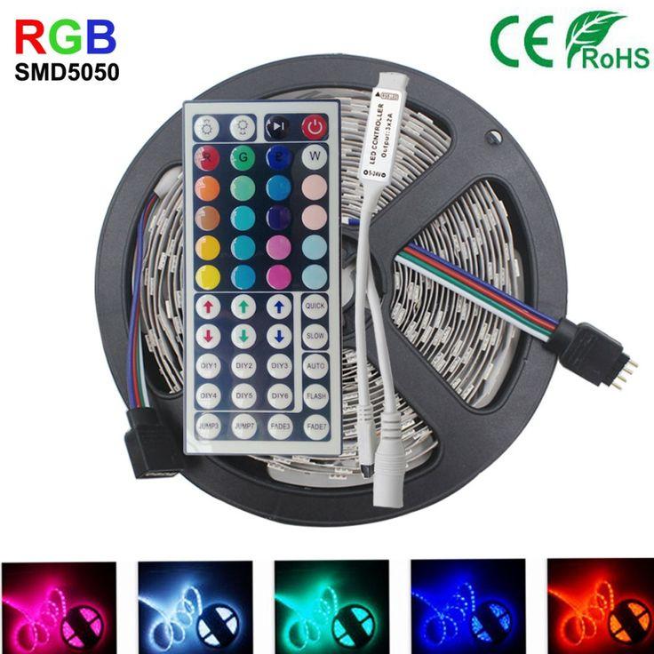 5 M 10 M IP65 tahan air rgb led jalur cahaya 5050 smd fleksibel led strip dc12V 150led 5 M RGB dipimpin tali + 44key IR remote controller