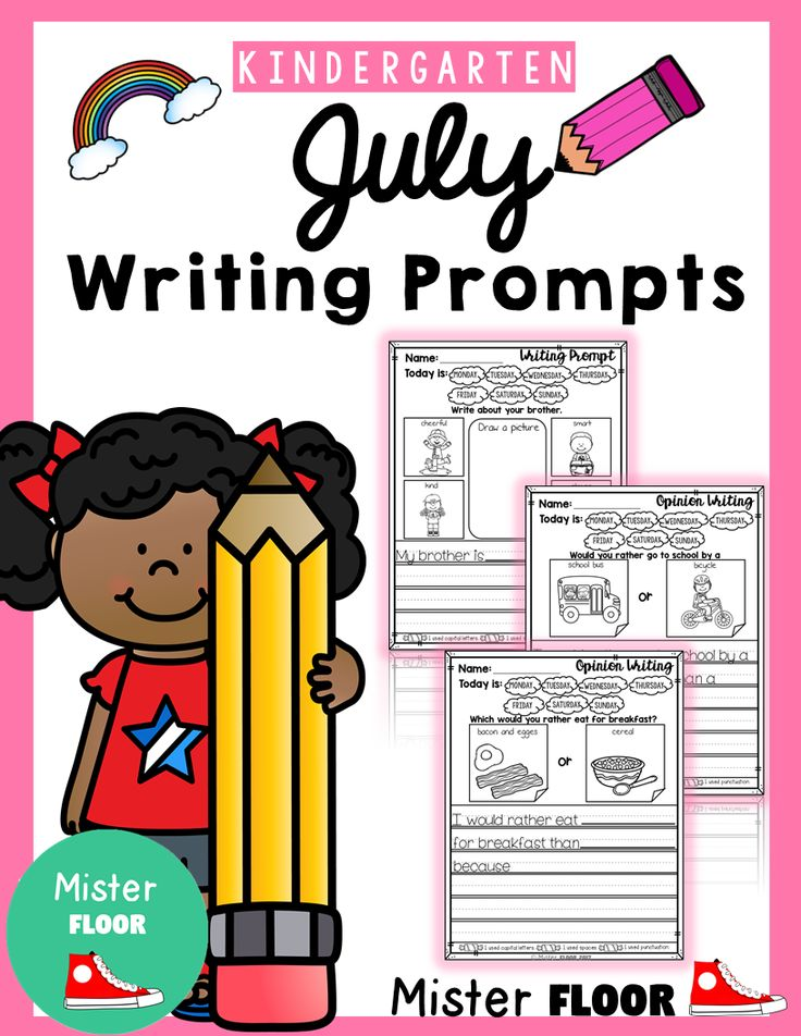 These Writing Prompts packet is filled with 20 pages.  This set of writing prompts includes the following: - Cover - 10 Daily Writing Prompts with illustrated word bank to help spell words they might use in their writing. - 10 Opinion Prompts.