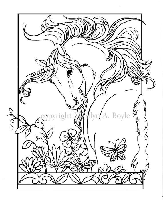Erwachsenen Farbung Seite Digitaler Download Einhorn Blumen Schmetterling Garten Fant Unicorn Coloring Pages Horse Coloring Pages Butterfly Coloring Page