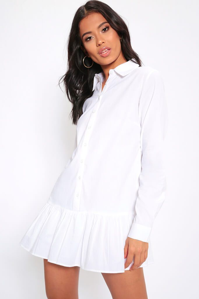 306cc72193 White Frill Hem Oversized Shirt Dress £13.00 (save 40%) £22.00 A frilled  hem mini shirt dress featuring long sleeves, button fastening and oversized  fit.