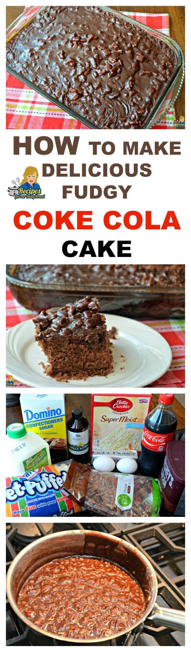 HOW TO MAKE DELICIOUS SOUTHERN FUDGY COCA-COLA CAKE PRINT RECIPE HERE: http://recipesforourdailybread.com/fudgy-coca-cola-cake/