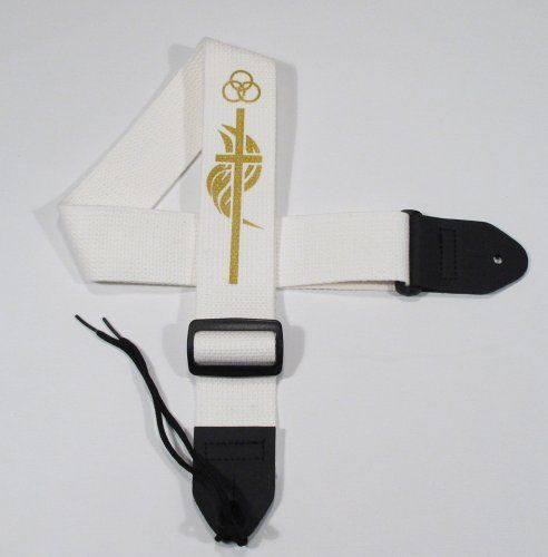 """Legacystraps Christian Guitar Strap with cross 2 Cotton CRS3 Gold on White by Legacystraps. $12.95. This 2"""" cotton guitar strap is one of our best selling items. Soft cotton fabric looks and wears great. Acoustic tie string included. Durable Synthetic Leather Ends This strap features Gold Design on a White Cotton Strap."""