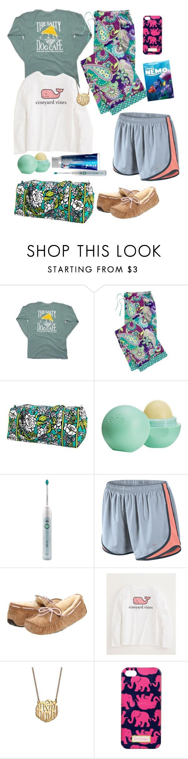 Sleepover by preppy-ever-after on Polyvore featuring Vera Bradley, NIKE, UGG Australia, BaubleBar, Lilly Pulitzer, Eos, Vineyard Vines and Philips Sonicare