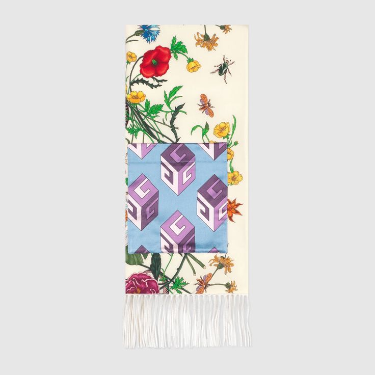 GUCCI Flora Snake Print Silk Scarf With Pocket - Flora Snake Print Silk. #gucci #all
