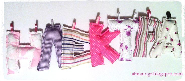 Fabric Greek letters (name Ilektra) #fabricletters #alphabet #kidsstuff #kidsroomdeco #handmadefabricletters #almanogr