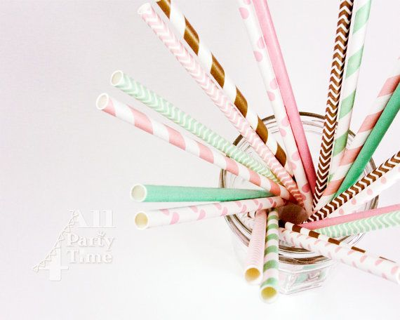 Paper Straw Blush Mint Gold Paper Straws 20 pcs by All4partytime.