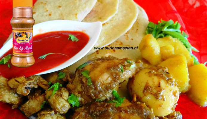 Surinaams eten – Surinaamse Roti met traditionele kip masala en roti saus trafasie