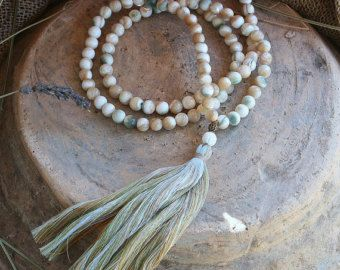 Frosted amazonite mala necklace – Lorelyn Eaves