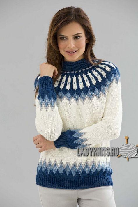 Красивый вязаный свитер со скандинавскими узорами
