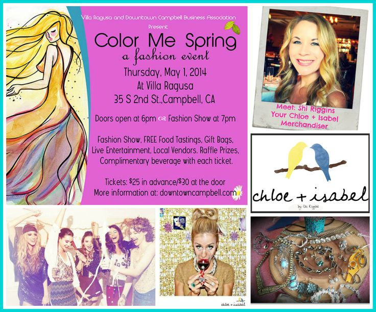 "Come on out and enjoy a Fabulous evening of Fashion, Food , Drinks & Fun! Make sure and stop by my table and say ""Hello""…I will be there with all my Chloe + Isabel jewels. Make a purchase and enter the raffle to win $25 off your purchase of $75+. Color Me Spring will also be raffling off a piece of my C + I jewelry as well! Good Luck!  *Tickets on Sale Now...Get yours at Bombshell Boutique!  Hope to see you there!  xoShi  Shop my boutique at: http://www.chloeandisabel.com/boutique/shiriggins"