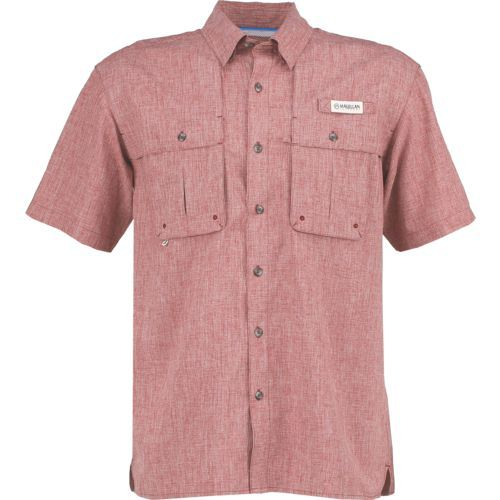 49a7554e0 Magellan Outdoors Men s Aransas Pass Heather Short Sleeve Fishing Shirt  (Red Medium 10