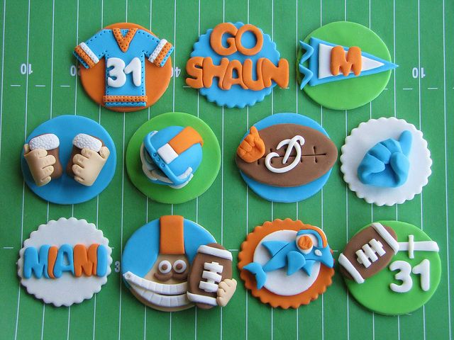 Miami Dolphins Cupcake Toppers by Lynlee's Petite Cakes