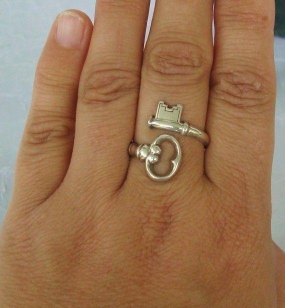 Vintage anello cucchiaio d'argento Skeleton Key di dmfsparkles