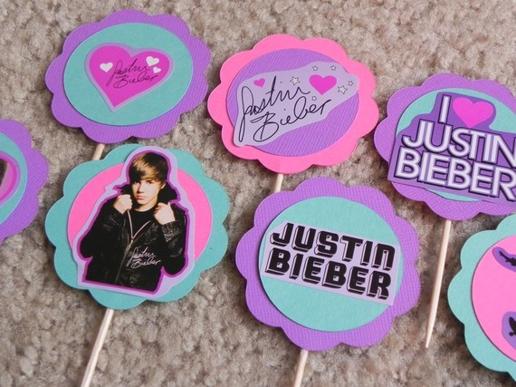 Justin Bieber Birthday Cupcake Toppers by 3rdgenerationcrafts, $4.00