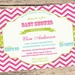 Retro Chevron Stripe Girls Baby Shower Invitation in hot pink,aqua blue and lime - DIY,digital file, printable