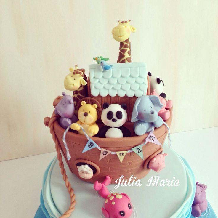 Noahs Ark Christening Cake Noah's Ark Christening Cake