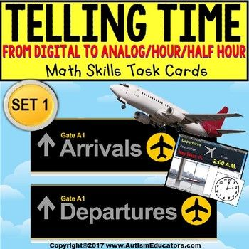 """TELLING TIME To The Hour and Half Hour Task Cards """"Task Box Filler"""" for Autism SET 1 This Task Card """"Task Box Filler"""" set will keep your kids right on task and eager to complete it! This Task Card set centers around an airport theme, with Departures and Arrivals and a destination, too!"""