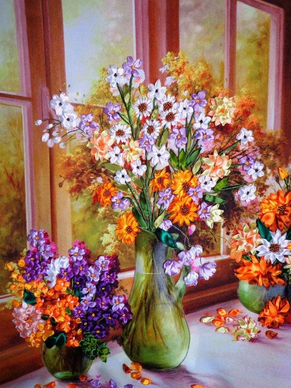 Embroidered picture flowers Silk ribbon embroidery 3D effect