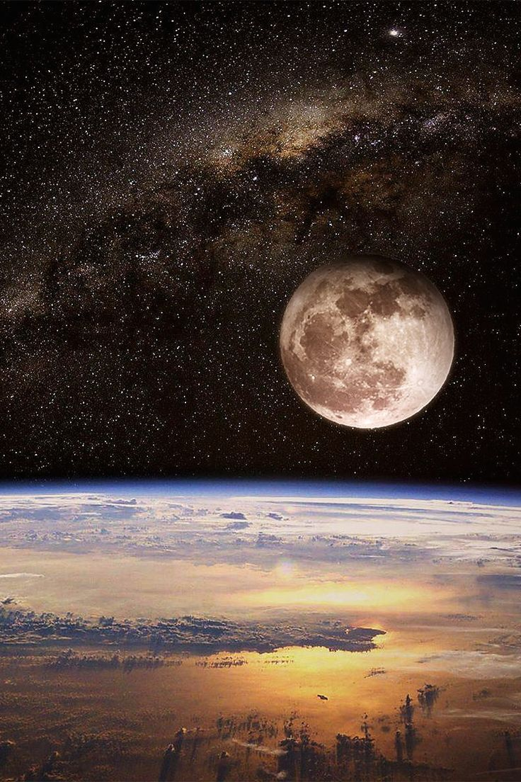 The moon and stars seen through space.