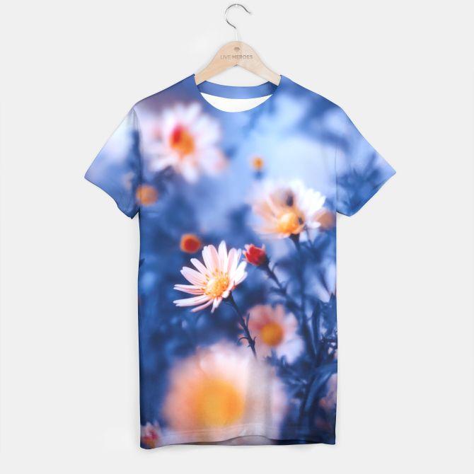 Orange Flower On Blue T-shirt, Live Heroes