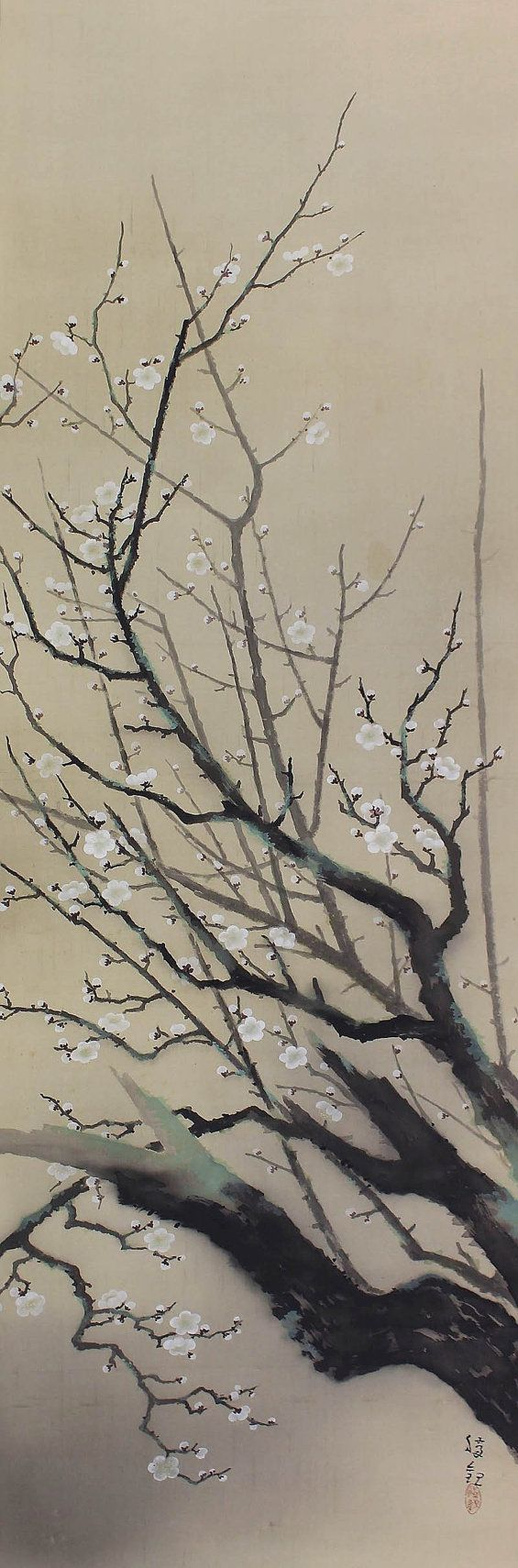 White Plum Blossoms by Ochi Shokan. Japanese Art hanging scroll painting.