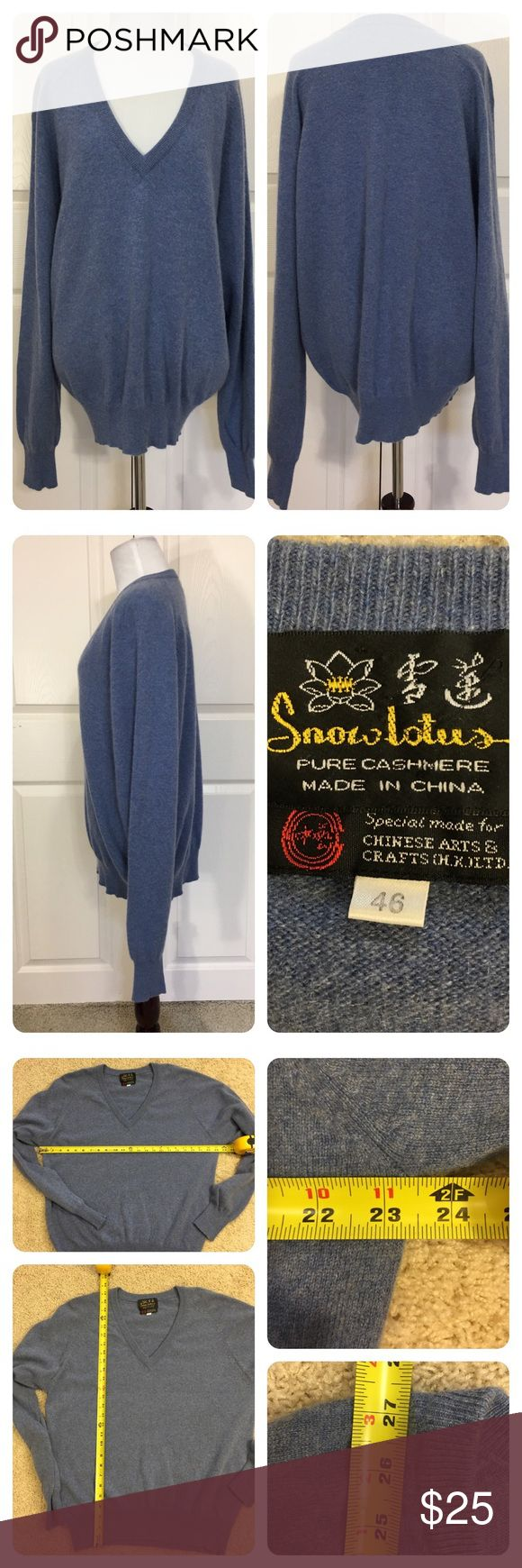 Snow Lotus pure cashmere sweater Classic v- neck blue men's Cashmere sweater. Great as a unisex option. Slight mark on sleeve and light wear. Super comfy! Sized as 46 will mark Large. Check measurements. Snow Lotus Sweaters V-Neck